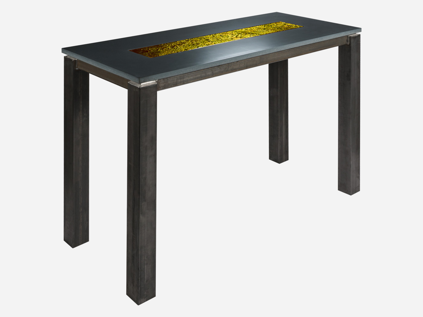 Table haute rectangle avec verre de Murano doré | Roc de France