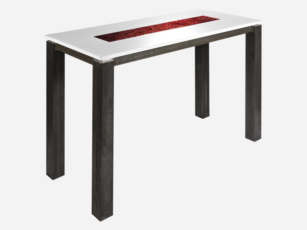 Table haute rectangle avec verre de Murano rubis | Roc de France